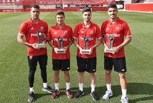 Los jugadores del Sevilla