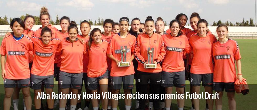 Alba Redondo y Noelia Villegas reciben sus premios Futbol Draft