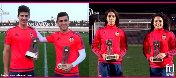 Los jugadores y jugadoras del Valencia CF reciben los trofeos Futbol Draft 2015